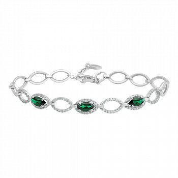 Серебряный браслет с зеленым кварцем и фианитами 000141715