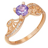 Золотое кольцо Эврика с аметистом и фианитами