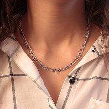 Серебряная родированная цепь Фигаро в плетении картье, 6мм