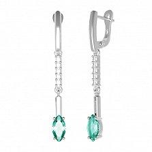 Серебряные серьги-подвески Миранда с зеленым кварцем и фианитами