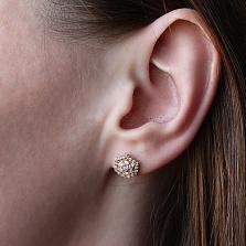 Серебряные серьги-пуссеты в позолоте с фианитами Camellia