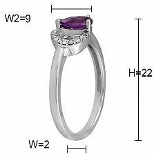 Кольцо из белого золота Коллет с аметистом и бриллиантами