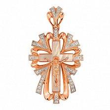 Крест Молитва в красном золоте с фианитами