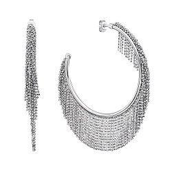 Серебряные серьги-кольца с подвесками 000140594