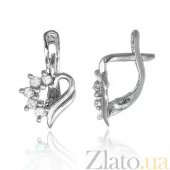 Серебряные сережки с фианитами Любовное послание SLX--С2Ф/014
