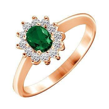 Позолоченное серебряное кольцо с изумрудным и белыми фианитами 000028430