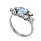 Серебряное кольцо с голубым цирконием Ульяна
