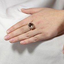 Золотое кольцо Ясмина с раухтопазом и фианитами