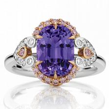 Кольцо Argile-Z с аметистом, розовыми сапфирами и бриллиантами