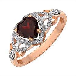 Золотое кольцо в комбинированном цвете с гранатом и фианитами 000145423