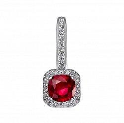 Серебряный кулон с рубином и фианитами 000133832