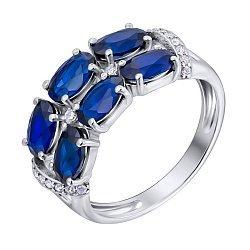 Серебряное кольцо с нано сапфирами и фианитами 000135397