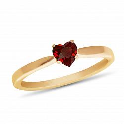 Золотое кольцо Ясмин с сердцем в четырех крапанах и рубином 000090704