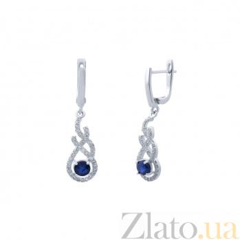 Серебряные серьги с сапфиром Приама AQA--E00678S