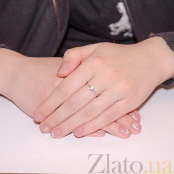 Кольцо из белого золота с кристаллом Swarowski Классика EDM--КД4026/1SW