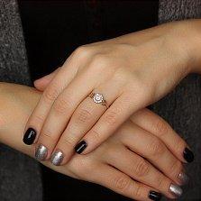 Золотое кольцо Мальнея в красном цвете с фианитами