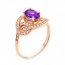 Кольцо из красного золота с аметистом и фианитами 000133428