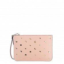 Кожаный клатч Genuine Leather 1536 нежно-розового цвета с перфорацией и короткой ручкой для запястья