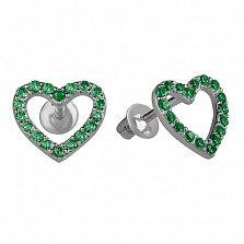 Серебряные пуссеты Любимые с зеленым цирконием