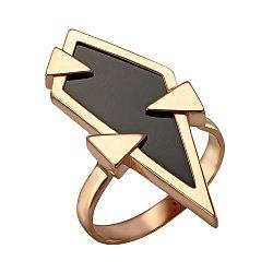 Золотой перстень с черным агатом в геометрическом стиле 000095907