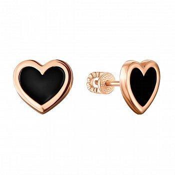 Серьги-пуссеты из красного золота с черной эмалью 000133206