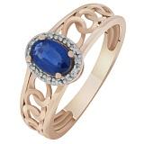 Золотое кольцо Беверли с сапфиром и бриллиантами