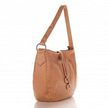 Кожаная сумка на каждый день Genuine Leather 8934 розового цвета с декоративными подвесками