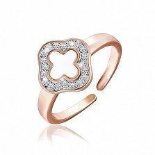 Серебряное кольцо Луиза с позолотой и фианитами в стиле Ван Клиф