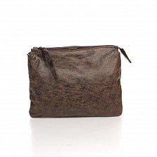 Кожаный клатч Genuine Leather 6564 темно-коричневого цвета с плечевым ремнем и двумя отделами