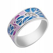 Серебряное кольцо Абстрактные бабочки на цветах с разноцветной эмалью и фианитами в стиле Фрайвилле