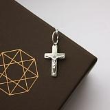 Крестик из серебра с родированием Спасение