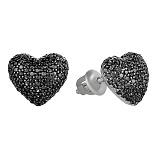 Серебряные серьги Блестящее сердечко с черным цирконием