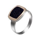 Серебряное кольцо Классика с золотом и авантюрином