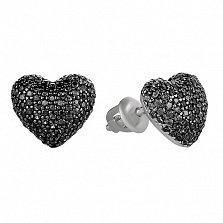 Серебряные серьги-пуссеты Блестящее сердечко с черным цирконием