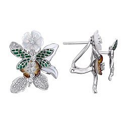 Серебряные серьги с эмалью, перламутром и фианитами 000138683