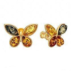Серебряные серьги-пуссеты с разноцветным янтарем 000139189