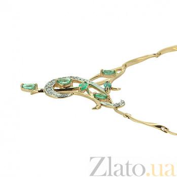Золотое колье с изумрудами и бриллиантами Аэлита в желтом цвете ZMX--NE-6295/112y