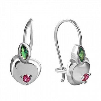 Серьги из серебра Яблочко с зеленым и красным цирконием 000069533