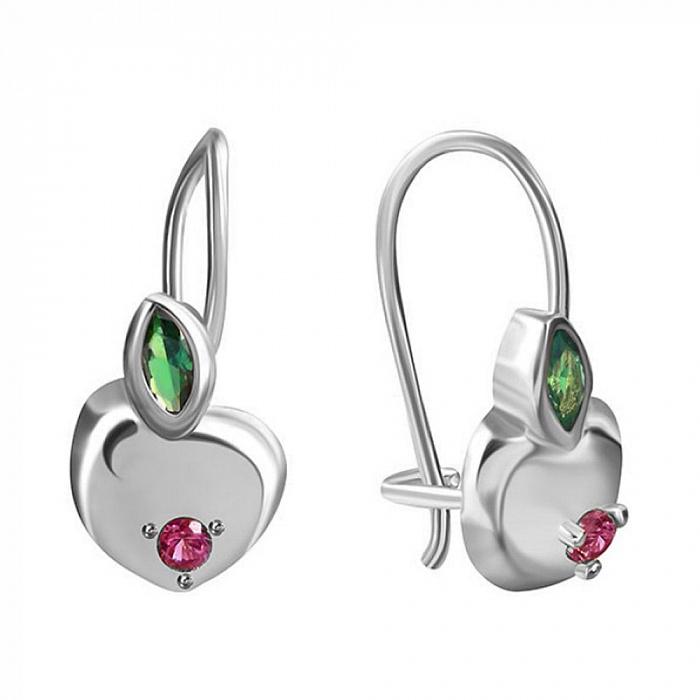 Серьги из серебра Райское яблочко с зеленым и красным цирконием 000069533