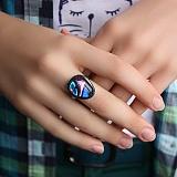 Серебряное кольцо с имитацией опала Вечное искусство