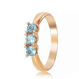 Золотое кольцо Лионелла с голубыми топазами