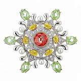 Серебряная брошь с фианитами и жемчугом Цветик-семицветик