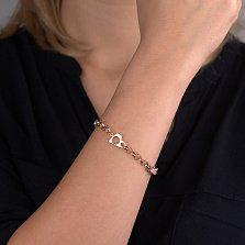 Золотой браслет в красном цвете Символы с разными элементами- звеньями и фианитами