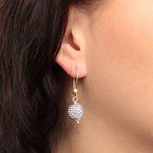 Серебряные серьги-подвески в форме шаров Блеск с нежно-сиреневыми кристаллами Swarovski