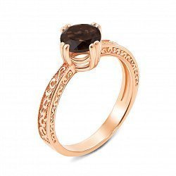 Кольцо из красного золота с раухтопазом 000136047