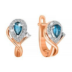Позолоченные серебряные серьги с голубыми фианитами 000029152