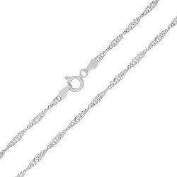 Серебряная цепь Фламенко с родированием, 2 мм