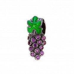 Серебряный шарм-кулон Виноградная гроздь с фиолетовым цирконием и зеленой эмалью