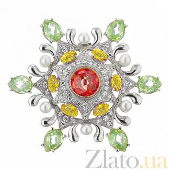 Серебряная брошь с фианитами и жемчугом Цветик-семицветик TNG--670025С зел
