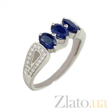 Золотое кольцо с сапфирами и бриллиантами Маританна 1К033-1111_1